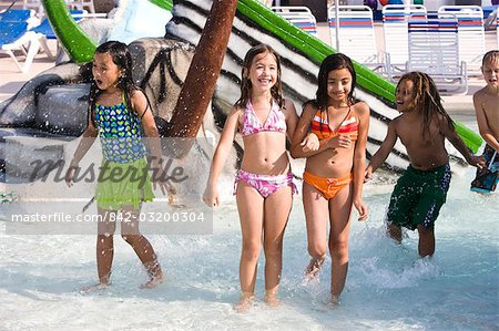 Multi-ethnic children at water park in summer Stock Photo - Rights-Managed, Image code: 842-03200304