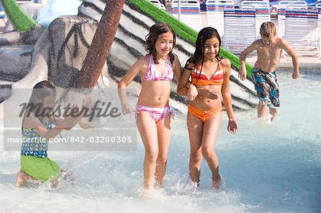 Multi-ethnic children at water park in summer Stock Photo - Rights-Managed, Image code: 842-03200305
