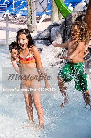 Multi-ethnic children at water park in summer Stock Photo - Rights-Managed, Image code: 842-03200350