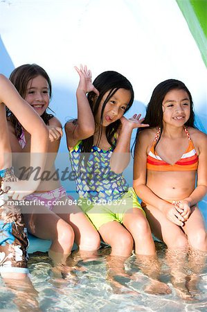 Multi-ethnic children at water park in summer Stock Photo - Rights-Managed, Image code: 842-03200374