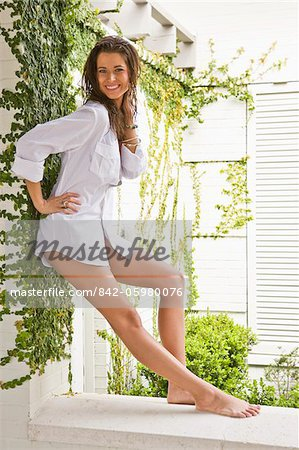 Sexy young woman posing outdoors with bare legs Stock Photo - Rights-Managed, Image code: 842-05980076