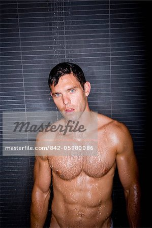 Sexy man taking shower Stock Photo - Rights-Managed, Image code: 842-05980086