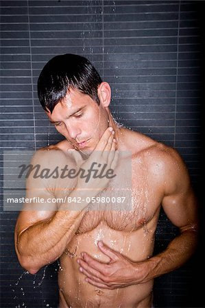 Sexy man taking shower Stock Photo - Rights-Managed, Image code: 842-05980087