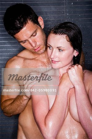 Romantic couple taking a shower Stock Photo - Rights-Managed, Image code: 842-05980091