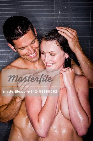 Romantic couple taking a shower Stock Photo - Rights-Managed, Image code: 842-05980092
