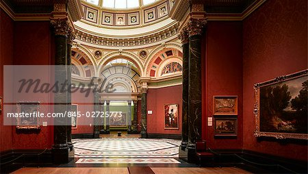 The National Gallery, London. Interior. Gallery space. Architect: E.M Barry.
