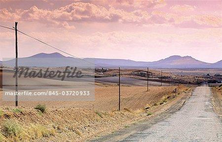 Castilla-la Mancha, road through landscape near Mora.