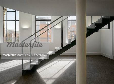 Staircase in an open plan office space in a refurbished chapel. Architects: OMI Architects Stock Photo - Rights-Managed, Image code: 845-03777615