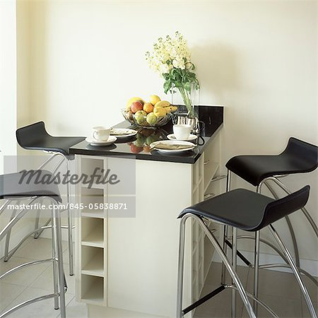 Kitchen breakfast bar with stools. Stock Photo - Rights-Managed, Image code: 845-05838871