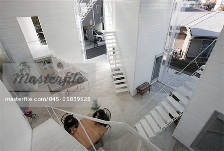 Yokohama Apartment, Apartment house, View towards the northeast from the 2nd floor. Architects: Osamu Nishida + Erika Nakagawa, ON Design Stock Photo - Rights-Managed, Image code: 845-05839528