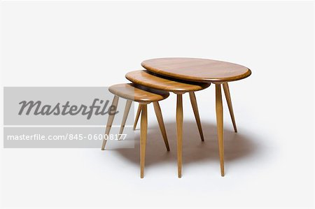 Nest of Tables (Model 354), 1960s, manufactured by Ercol. Designer: Lucien Ercolani Stock Photo - Rights-Managed, Image code: 845-06008177