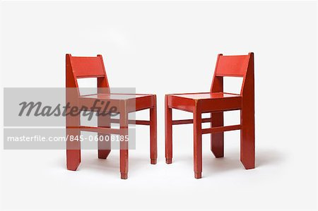Red Painted Wooden Chairs, Dutch, 1920's. Designed at Ecole de La Haye Stock Photo - Rights-Managed, Image code: 845-06008185