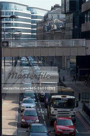 Traffic congestion on Upper Thames Street, London EC4 Stock Photo - Rights-Managed, Image code: 845-06008263