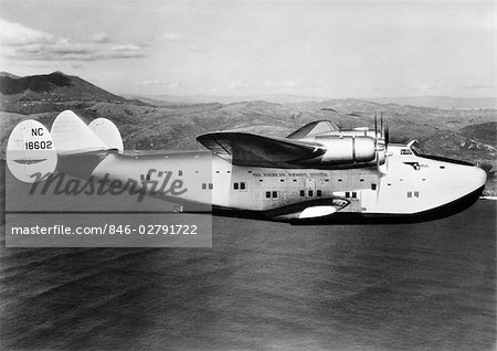 1930s 1940s PAN AMERICAN CLIPPER FLYING BOAT PLANE IN FLIGHT