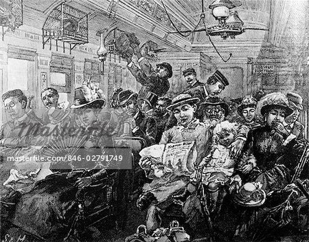 1880s ILLUSTRATION CROWDED PASSENGER CAR RAILROAD COACH TRAVEL 19TH CENTURY TRAIN AMERICA FROM HARPERS MAGAZINE AUGUST 1885 Stock Photo - Rights-Managed, Image code: 846-02791749