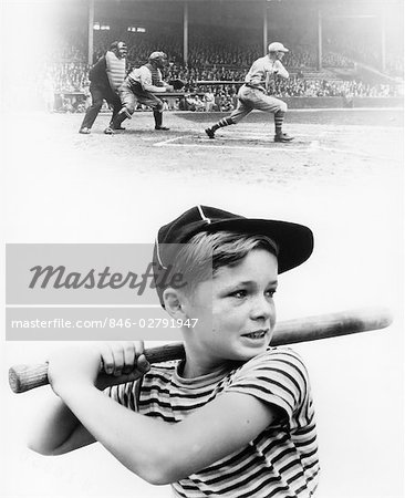 1930s MONTAGE OF BOY AT BAT WITH PROFESSIONAL BASEBALL GAME IN PROGRESS Stock Photo - Rights-Managed, Image code: 846-02791947