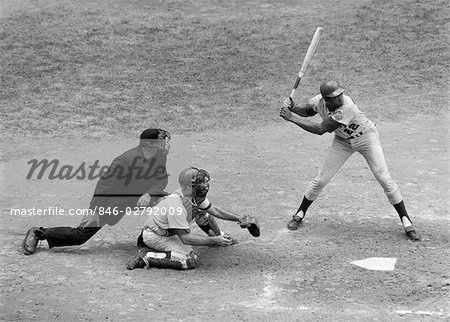 1970s SIDE VIEW OF PROFESSIONAL BASEBALL GAME WITH PLAYER AT BAT & CATCHER & UMPIRE BEHIND HIM Stock Photo - Rights-Managed, Image code: 846-02792009