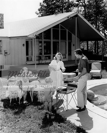 1950s FAMILY SERVING HAMBURGERS BESIDE POOL IN BACKYARD COOKOUT Stock Photo - Rights-Managed, Image code: 846-02792186