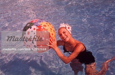 1960s WOMAN IN SWIMMING POOL HOLDING BEACH BALL Stock Photo - Rights-Managed, Image code: 846-02792569
