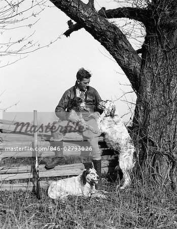 1930s MAN IN JODHPURS & LEATHER JACKET SITTING ON POST & RAIL FENCE UNDER TREE WITH 3 HUNTING DOGS Stock Photo - Rights-Managed, Image code: 846-02793026