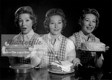 1950s TRIPLE EXPOSURE SMILING WOMAN HOUSEWIFE IN APRON WITH CAKE LAYERS FROSTING AND COMPLETED CAKE LOOKING AT CAMERA