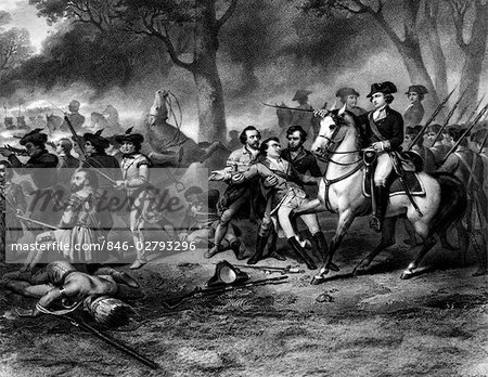 ENGRAVING OF GEORGE WASHINGTON ON HORSEBACK LEADING TROOPS AT BATTLE OF MONONGAHELA FRENCH AND INDIAN WAR 1754-1763 Stock Photo - Rights-Managed, Image code: 846-02793296