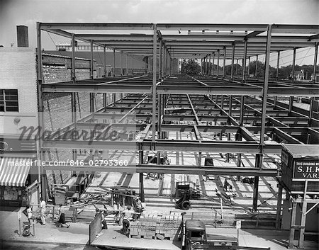 1950s COMMERCIAL SITE OF BUILDING CONSTRUCTION WITH STEEL GIRDER FRAME ERECTED MEN WORKING BELOW Stock Photo - Rights-Managed, Image code: 846-02793360