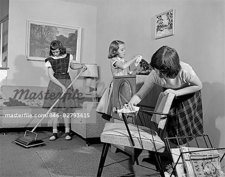 1950s THREE PRE-TEEN YOUNG GIRLS CLEANING LIVING ROOM DUSTING VACUUMING Stock Photo - Rights-Managed, Image code: 846-02793615