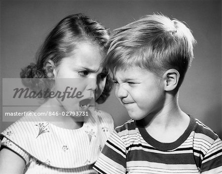 1950s BOY AND GIRL ARGUING HEAD TO HEAD Stock Photo - Rights-Managed, Image code: 846-02793731