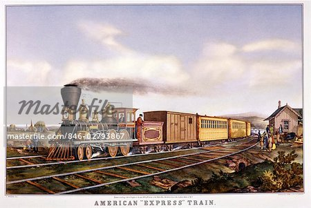 CURRIER AND IVES LITHOGRAPH EARLY AMERICAN EXPRESS RAILROAD TRAIN STEAM ENGINE BAGGAGE PASSENGER CARS Stock Photo - Rights-Managed, Image code: 846-02793867