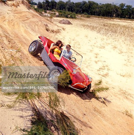 1970s MAN WOMAN COUPLE YELLOW BATHING SUIT SAND RED DUNE BUGGY BEACH Stock Photo - Rights-Managed, Image code: 846-02794745