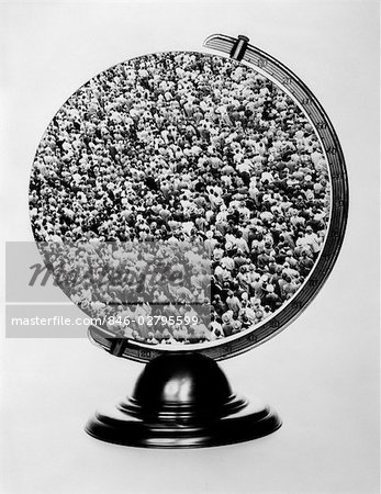 1960s GLOBE ON STAND WITH SHOT OF LARGE CROWD SUPERIMPOSED OVER MAP Stock Photo - Rights-Managed, Image code: 846-02795599
