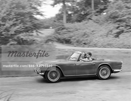 1960s COUPLE DRIVING IN CONVERTIBLE SPORTS CAR Stock Photo - Rights-Managed, Image code: 846-02795610
