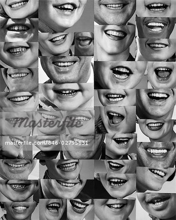 1960s 1970s MONTAGE OF SMILING MOUTHS OF ALL SEXES AND AGES Stock Photo - Rights-Managed, Image code: 846-02795631