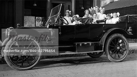 1910s 1920s LARGE GROUP OF LITTLE GIRLS IN WHITE DRESSES PACKED INTO A PARKED CONVERTIBLE TOURING AUTOMOBILE Stock Photo - Rights-Managed, Image code: 846-02795654