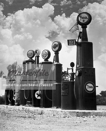 1920s 1930s LINE OF GASOLINE PUMPS Stock Photo - Rights-Managed, Image code: 846-02795659