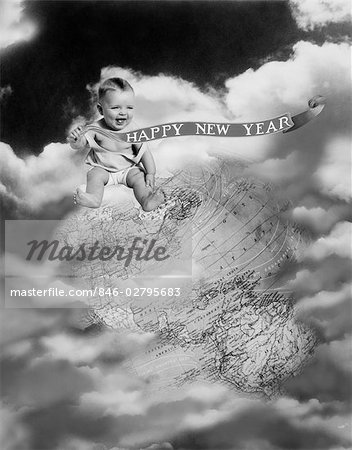 1930s MONTAGE BABY SITTING ON TOP OF THE WORLD EARTH GLOBE IN CLOUDS HOLDING HAPPY NEW YEAR BANNER Stock Photo - Rights-Managed, Image code: 846-02795683