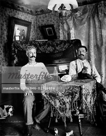 1890s TWO MEN IN SHIRT SLEEVES SITTING AT TABLE DRINKING BOTTLES OF BEER WITH PIANO AND DOG IN BACKGROUND Stock Photo - Rights-Managed, Image code: 846-02795966