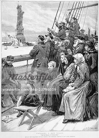 1892 DRAWING GROUP OF ARRIVING IMMIGRANTS HUDDLED ON SHIP DECK WAVING AT STATUE OF LIBERTY NEW YORK CITY Stock Photo - Rights-Managed, Image code: 846-02796039