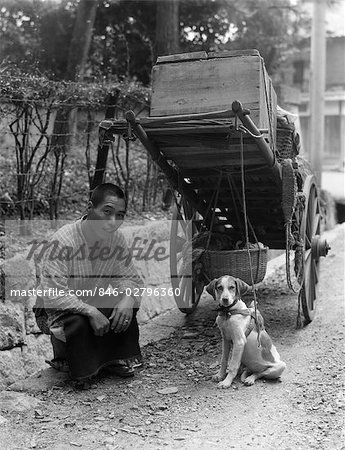 1930s JAPANESE MAN VEGETABLE VENDOR FARMER WITH CART SIDE OF ROAD KNEELING SMILING WITH PER DOG JAPAN Stock Photo - Rights-Managed, Image code: 846-02796360