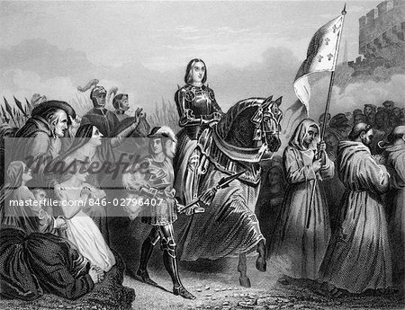 ENTRY OF JOAN OF ARC INTO ORLEANS 1429 FRENCH SAINT WOMAN MILITARY LEADER HEROINE CATHOLIC MAID OF ORLEANS JEANNE D'ARC Stock Photo - Rights-Managed, Image code: 846-02796407