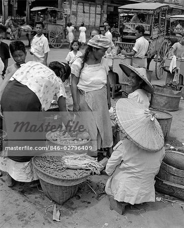 1930s 1940s GROUP OF WOMEN IN NATIVE FOOD VEGETABLE MARKET MANILA PHILIPPINE ISLANDS PHILIPPINES Stock Photo - Rights-Managed, Image code: 846-02796409