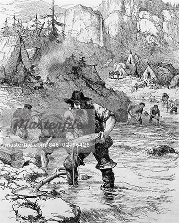 DRAWING 1849 GOLD RUSH CAMP IN CALIFORNIA BEARDED MAN PROSPECTOR PANNING IN STREAM