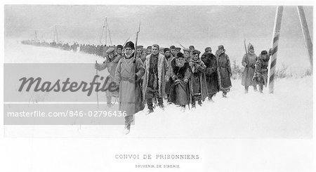 PRISONERS MARCHING WINTER SNOW SIBERIA RUSSIA PAINTING BY PRICE CONVOI DE PRISONNIERS PARIS SALON 1897 Stock Photo - Rights-Managed, Image code: 846-02796436