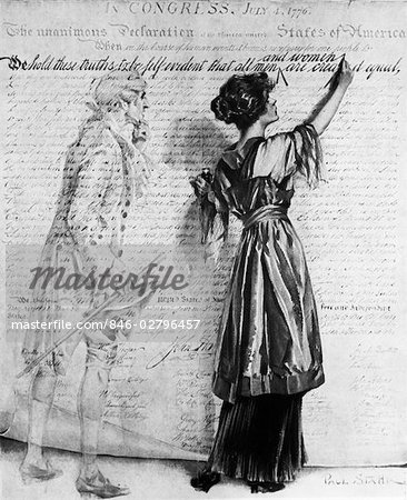 1900s DRAWING WOMAN INSERTING WRITING WORDS AND WOMEN INTO DECLARATION OF INDEPENDENCE AS GHOST OF THOMAS JEFFERSON LOOKS ON Stock Photo - Rights-Managed, Image code: 846-02796457