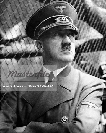 PORTRAIT ADOLPH HITLER IN UNIFORM HAT MUSTACHE SWASTIKA PIN WORLD WAR II DER FUHRER NAZI FASCIST DICTATOR GERMAN GENOCIDE