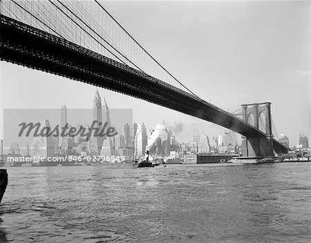 1950s SKYLINE OF LOWER MANHATTAN WITH BROOKLYN BRIDGE FROM BROOKLYN ACROSS THE EAST RIVER Stock Photo - Rights-Managed, Image code: 846-02796549