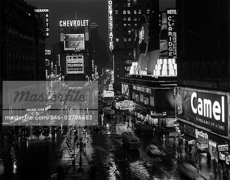 1950s TIMES SQUARE NIGHT FROM TIMES BUILDING UP TO DUFFY SQUARE NEON SIGNS BROADWAY GREAT WHITE WAY Stock Photo - Rights-Managed, Image code: 846-02796683