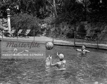 1940s PLAYING VOLLEY WITH A BEACH BALL IN SWIMMING POOL Stock Photo - Rights-Managed, Image code: 846-02796853