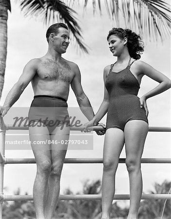 1940s COUPLE IN BATHING SUITS STANDING TALKING Stock Photo - Rights-Managed, Image code: 846-02797043